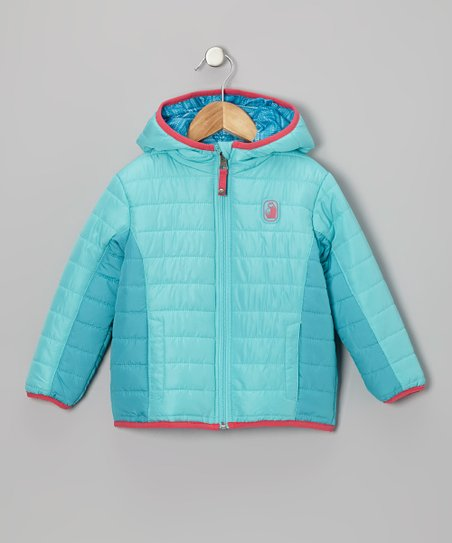 Turquoise Stripe Reversible Puffer Coat - Infant, Toddler & Girls