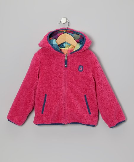 Fuchsia Tartan Reversible Sherpa Coat - Infant