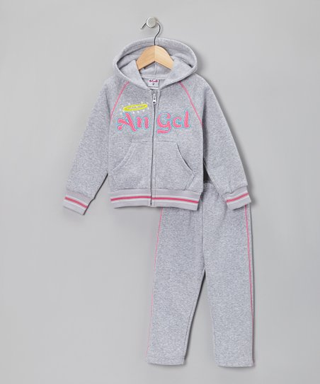Gray 'Angel' Zip-Up Hoodie & Pants - Toddler & Girls