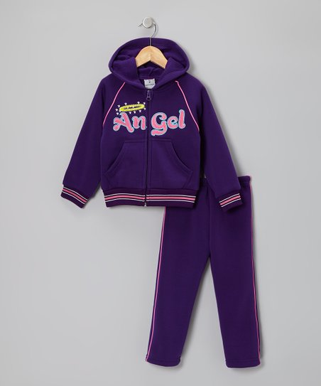 Purple 'Angel' Zip-Up Hoodie & Pants - Toddler & Girls