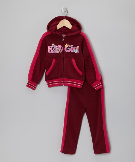 Dark Red 'Baby Girl' Zip-Up Hoodie & Pants - Toddler & Girls