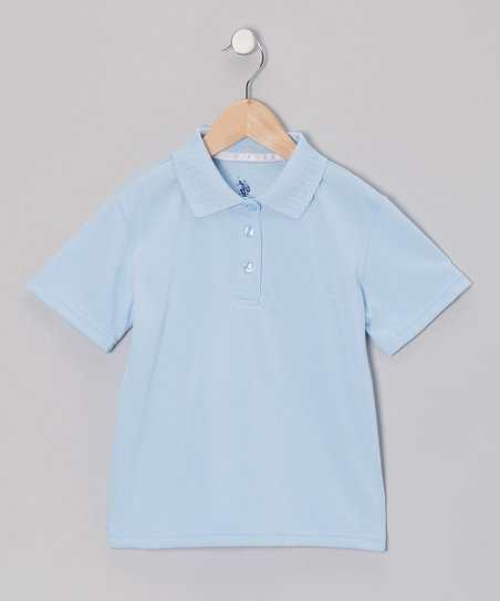 Light Blue Picot Polo - Girls