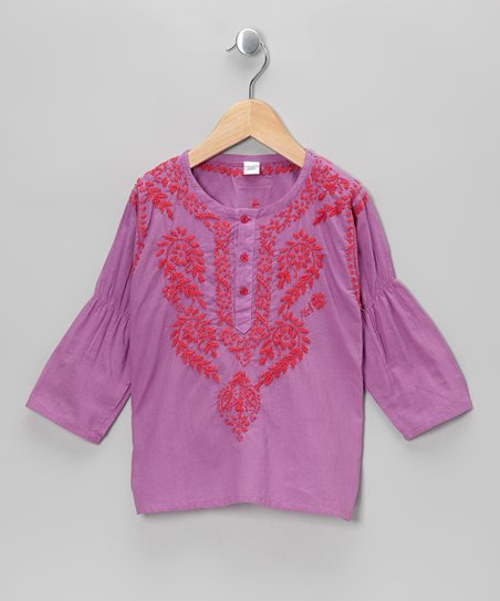 Lavender & Pink Hand-Embroidered Tunic – Infant & Toddler