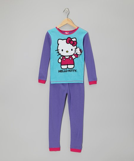 Aqua & Purple Hello Kitty Pajama Set - Girls