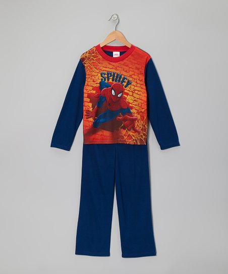 Blue & Orange 'Spidey' Pajama Set - Boys