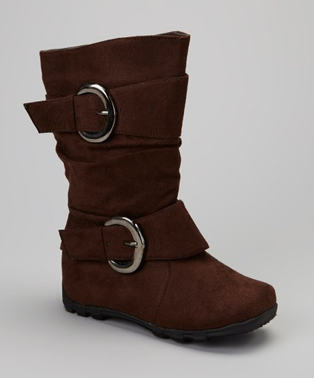 Brown Slouch Double-Buckle Boot