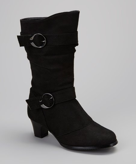 Black Slouch Double-Buckle Boot