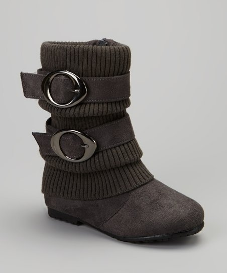 Gray Sweater-Cuff Double-Buckle Boot