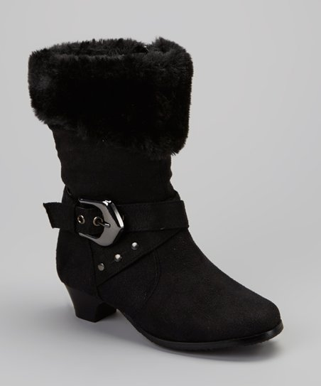 Black Faux Fur Cuff Boot