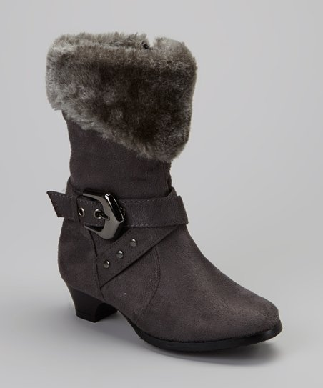 Gray Faux Fur Cuff Boot