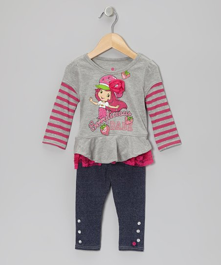 Gray Strawberry Tunic & Blue Leggings - Infant