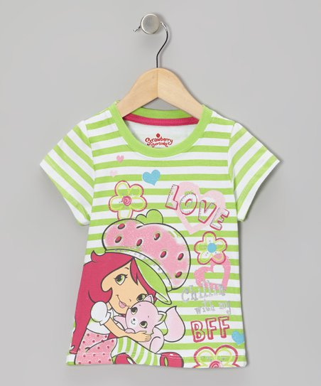 Green Stripe Strawberry Tee - Toddler