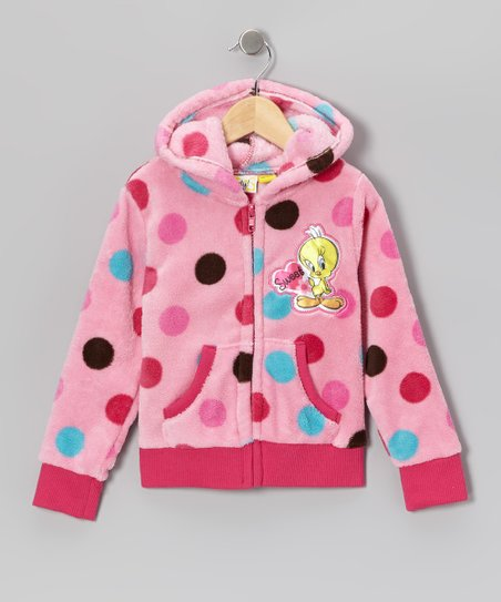 Bright Pink Polka Dot Tweety Zip-Up Hoodie - Girls