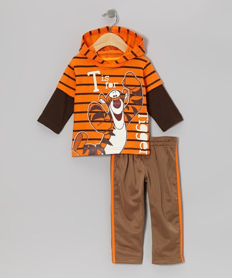 Orange Tigger Layered Hoodie & Brown Pants