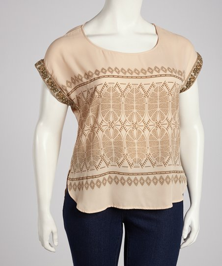 Cream Tribal Beaded Top - Plus