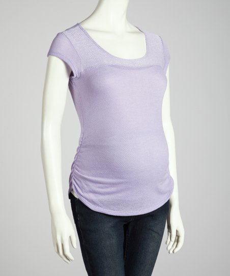 Purple Ruched Cap-Sleeve Maternity Top