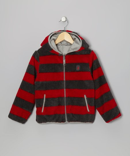 Red Stripe & Gray Reversible Sherpa Coat - Infant