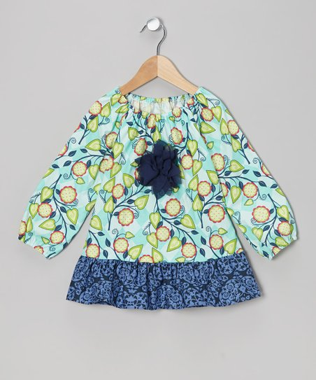 Aqua Vine Peasant Top - Toddler & Girls