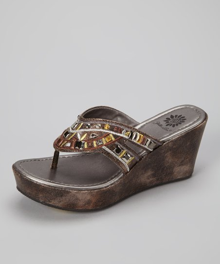 Pewter Fever Wedge Sandal