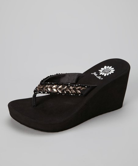Black Honeydew Wedge Sandal