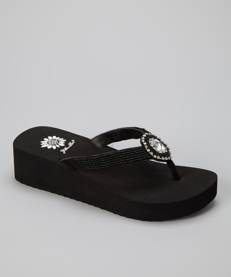 Black Pisces Wedge Sandal