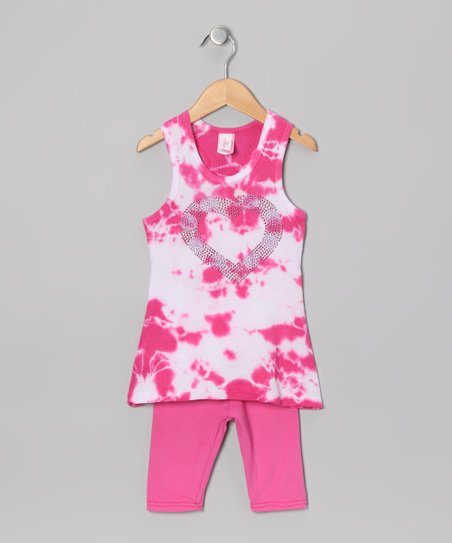 Fuchsia & White Tie-Dye Tunic & Capri Pants - Toddler & Girls