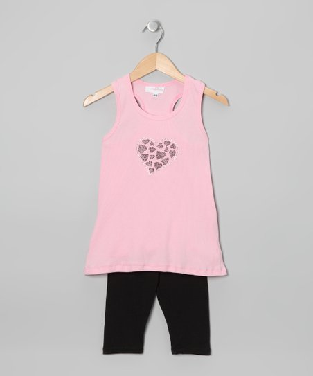 Pink & Black Tunic & Capri Pants - Toddler & Girls