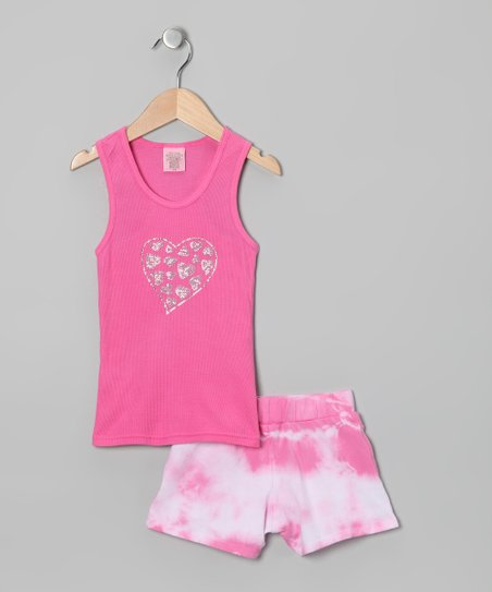 Pink & White Tank & Tie-Dye Shorts - Toddler & Girls