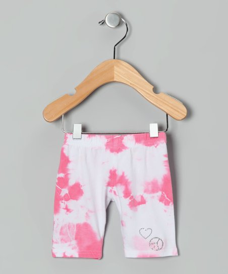 Pink & White Tie-Dye Capri Pants - Infant