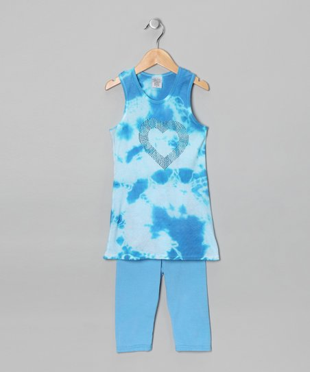 Turquoise & White Tunic & Capri Pants - Toddler & Girls