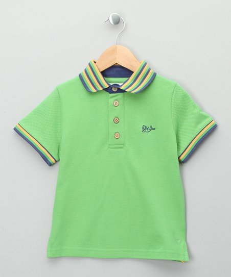 Green Stripe Organic Polo - Toddler & Kids