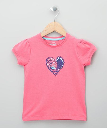 Bright Pink Peacock Heart Organic Tee - Toddler & Girls