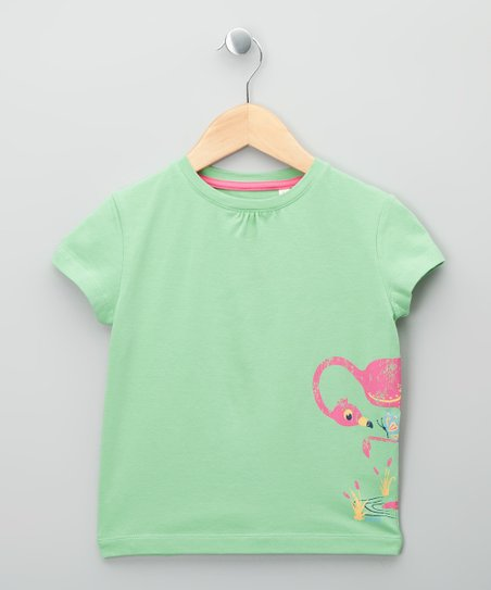 Green & Bright Pink Flamingo Organic Tee - Girls