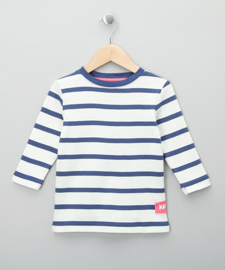 Navy &amp; Ecru Stripe Organic Top - Toddler &amp; Kids