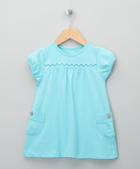 Pale Blue Zigzag Organic Tunic - Girls