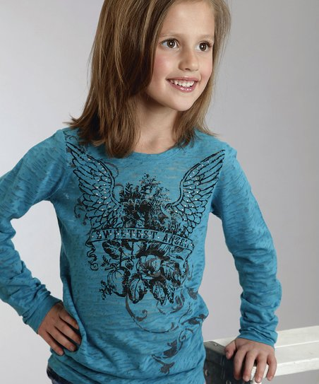 Navy & Blue Thermal Henley - Girls
