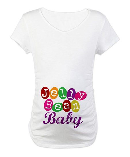 CafePress White 'Jelly Bean Baby' Maternity Tee