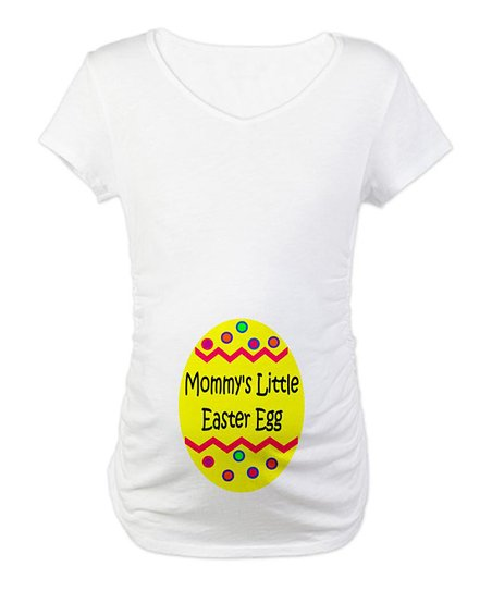 CafePress White 'Mommy's Little Easter Egg' Maternity Tee