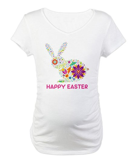 CafePress White 'Happy Easter' Rabbit Maternity Tee