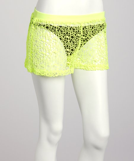 Neon Yellow Mesh Shorts - Women