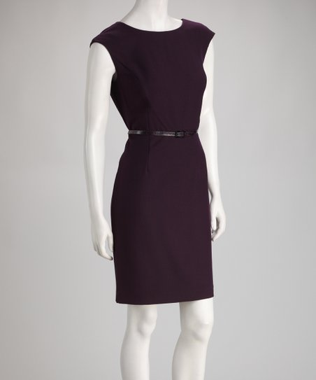 Eggplant Belted Dress
