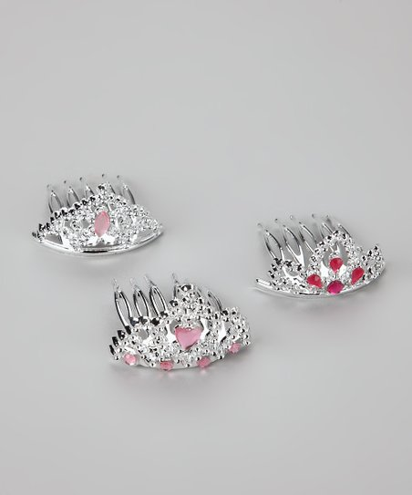 Silver &amp; Pink Tiara Comb Set