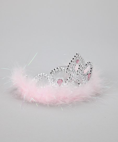 Bubblegum Diva Pink Marabou Jeweled Tiara