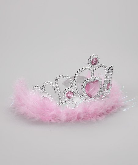 Bubblegum Diva Pink Marabou Heart Tiara