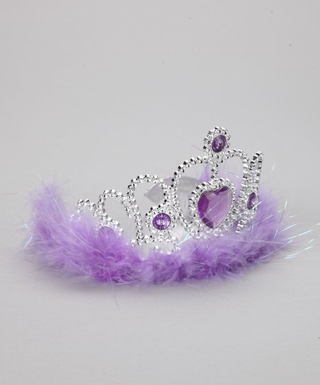 Bubblegum Diva Purple Marabou Heart Tiara