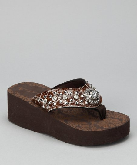 Coffee Flower Bling Wedge Sandal
