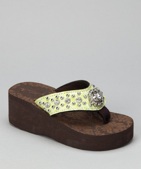 Lime Stone &amp; Flower Bling Wedge Sandal