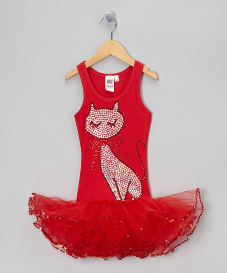 Red Fancy Cat Tutu Dress - Girls
