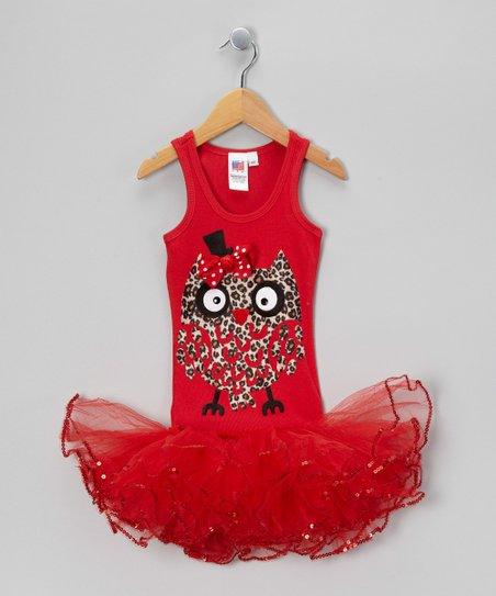 Red Cheetah Owl Tutu Dress - Girls