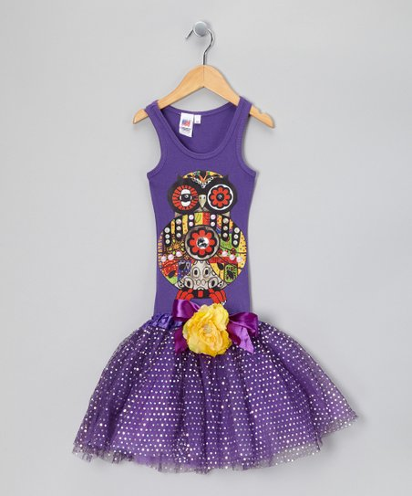 Purple Jewel Owl Tutu Dress - Girls